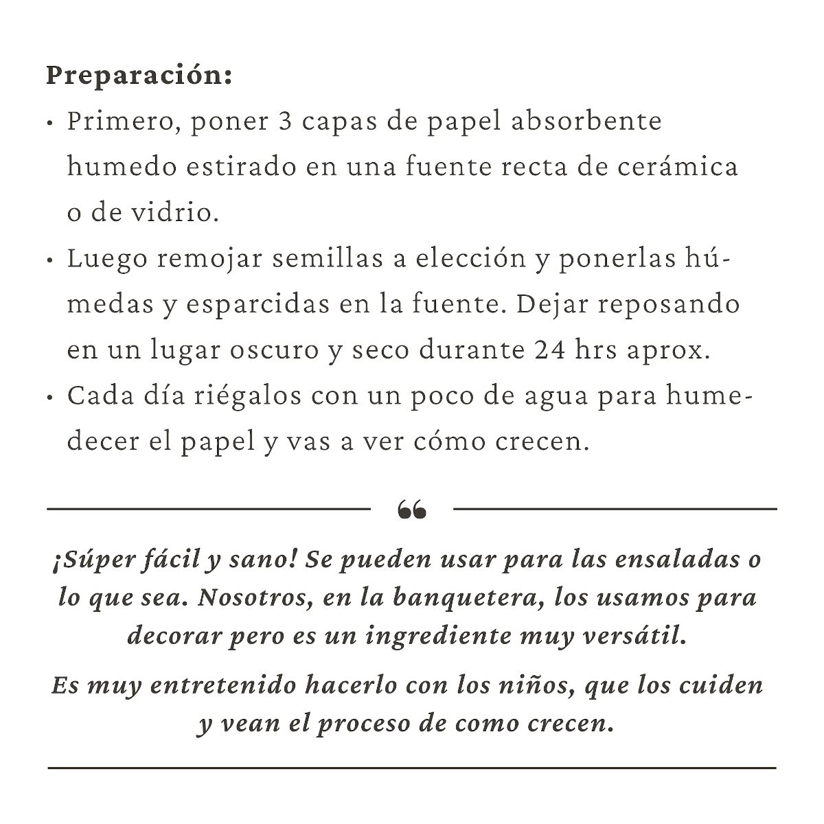 preparación de germinados